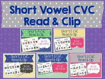 Short Vowel CVC Read & Clip Cards Bundle