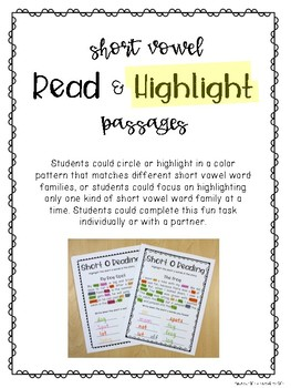 Short Vowel Read & Highlight Passages