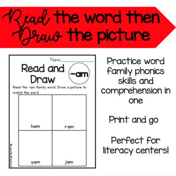 Short Vowel Read and Draw Word Family Bundle