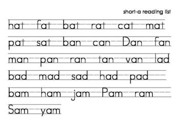 Short Vowel Reading Lists and Sentences