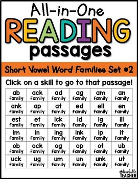 Short Vowel Reading Passages ~ All-in-One Set TWO