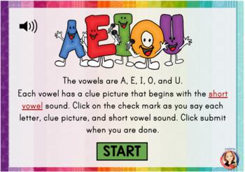 Short Vowel Review Digital Task Cards