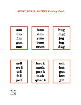 Short Vowel Rhymes Reading Cards