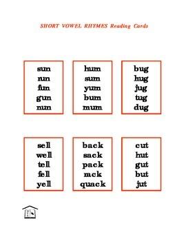 Short Vowel Rhymes Reading Cards & list