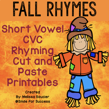 Short Vowel Rhyming! (Fall Worksheets!}