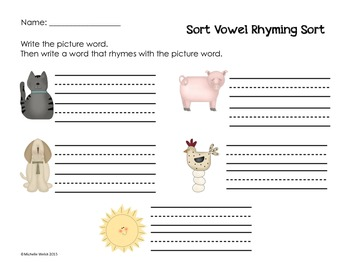 CVC Rhyming Word Sort