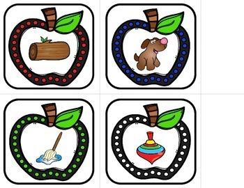 Short Vowel Rhyming Words - Apple Match