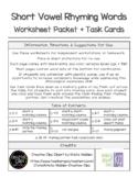 Short Vowel Rhyming Words Worksheets and Task Cards
