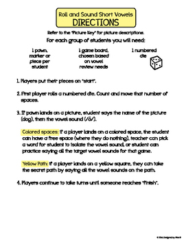 Short Vowel Roll & Sound Game