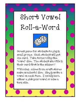 Short Vowel  Roll-a-Word