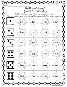 Short Vowel Roll and Read Games - Great for Word Work or Literacy Centers!