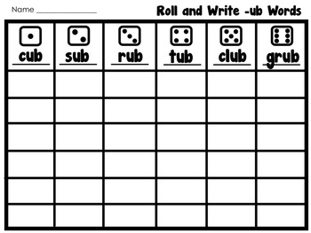 Short Vowel Roll and Write Packet