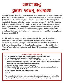 Short Vowel Roundup - A File Folder Activity for Short Vowels