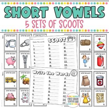 Short Vowel Scoot Short a, Short e, Short i, Short o, Short u 5 sets
