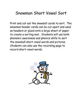 Short Vowel Snowmen