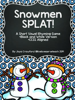 Short Vowels Game: Snowmen SPLAT!  (B&W)