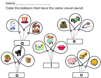 Short Vowel Sort Ballons