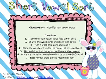 Short Vowel Sort-Beach Themed