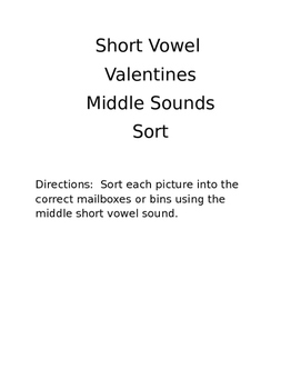 Short Vowel Sort- Valentines
