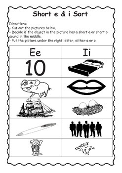 Short Vowel Sort and 10 Practice Sheets