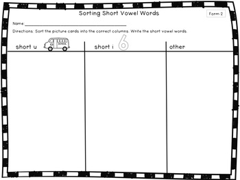 Short Vowel Sorting Activities for Centers or Whole Group