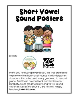 Short Vowel Sound Posters