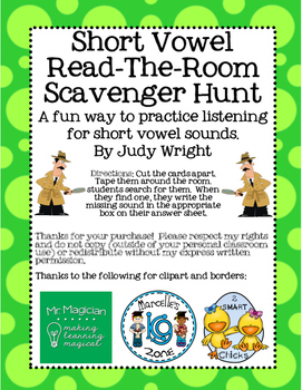 Short Vowel Sound Read and Write The Room - Scavenger Hunt