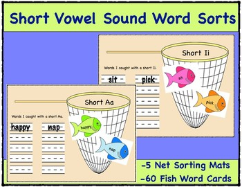 Short Vowel Sound Word Sorts, 5 Net Sorting Mats and 60 Fish Word Cards