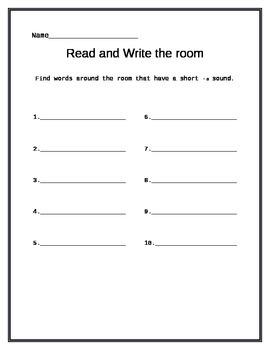 Short Vowel Sound Word Work