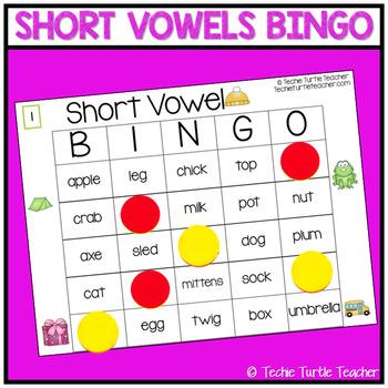 Short Vowel Sounds Bingo - 25 Different Game Cards