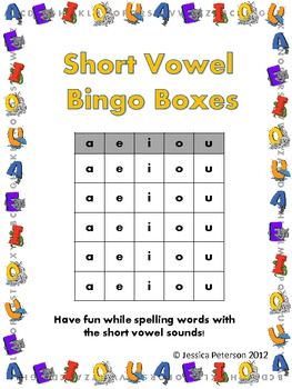 Short Vowel Sounds Bingo Boxes