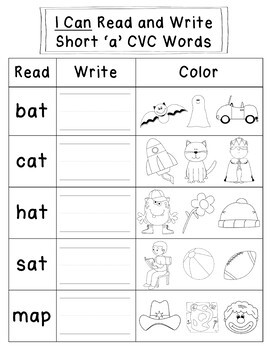 Short Vowel Sounds -  CVC Word Work Workbooks
