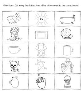 Short Vowel Sounds -  CVC Word Workbooks - read, write, cut and match