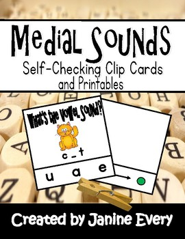Medial Sounds Clip Cards and Printables