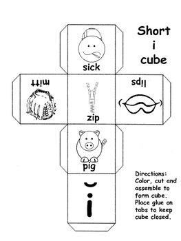Short Vowel Sounds Cubes