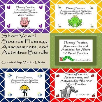 Short Vowel Sounds Fluency, Assessments, and Activities Bundle