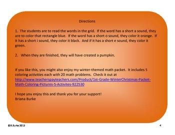 Short Vowel Sounds - Pumpkin Coloring Picture - Free!