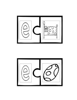 Short Vowel Sounds Puzzles (Black and White)