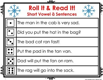 Short Vowel Sounds Roll It! Read It! Seasonal Game Cards