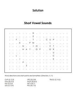 Short Vowel Sounds Worksheet/ Word Search