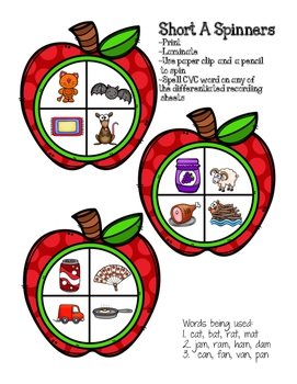 Short Vowel Spelling {Apple Spinners}