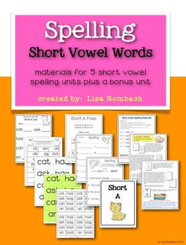 Short Vowel Spelling Materials to Use with Short Vowel Units