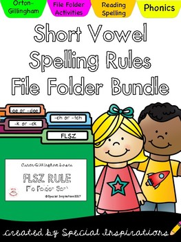 Short Vowel Spelling Rules File Folder Bundle (floss, k/ck, ch/tch, ge/dge)