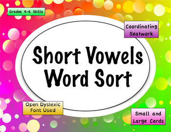 Short Vowel Word Sort {Differentiated} + Seat work