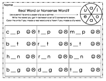 Short Vowel Spinner NWF Practice