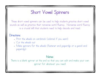 Short Vowel Spinners (NWF)