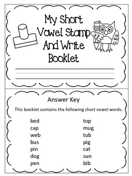 Short Vowel Stamp and Write Booklet