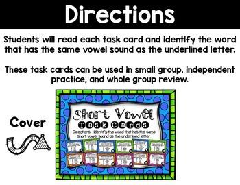 Short Vowel Task Cards (Multiple Choice)