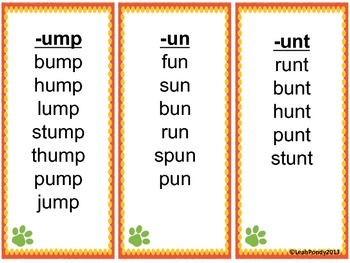 Short Vowel Teams/Word Families Flashcards