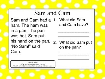 Short Vowel Text with Questions